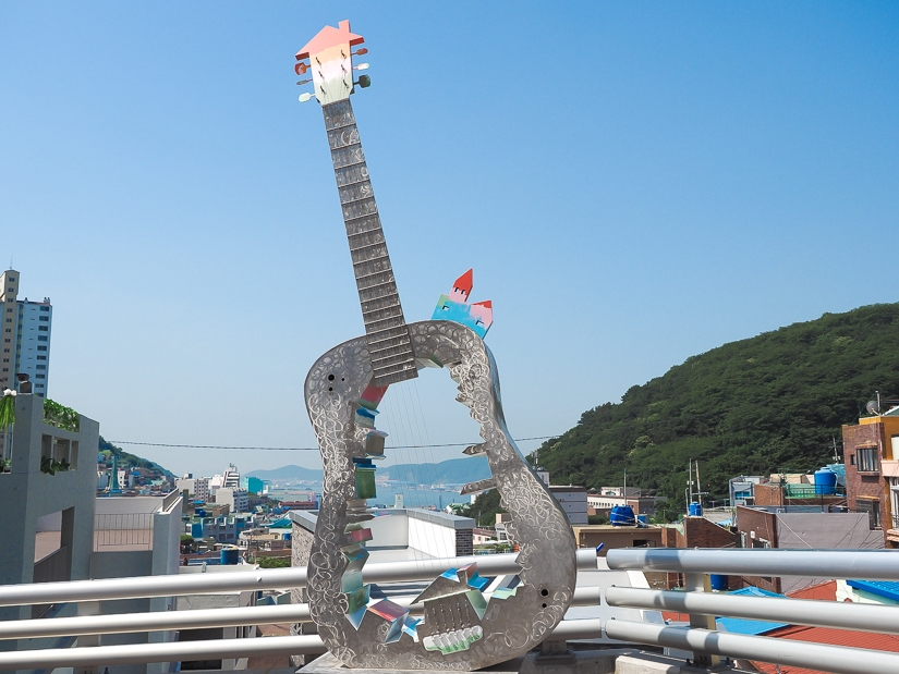 Gamcheon Sound, a guitar shaped artwork with a view of the sea