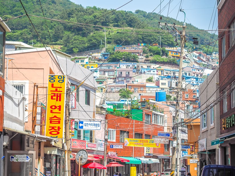 View of Gamcheon Village from the bottom entrance