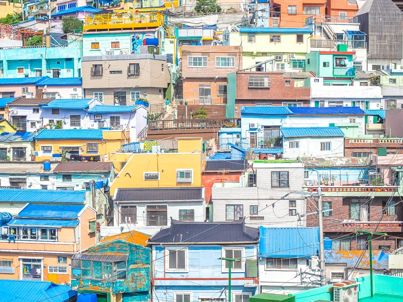Close up of houses at Gamcheon Culture Village