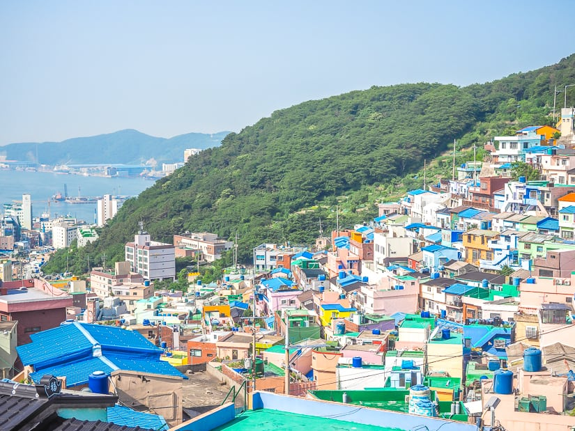Gamcheon Culture Village with harbor in background