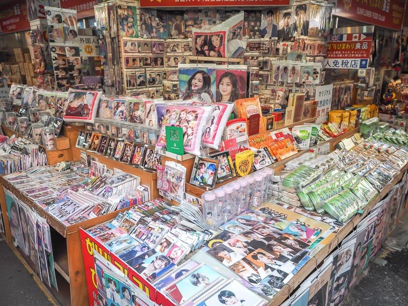K-pop product stall in Gukje Market, the biggest market in Busan