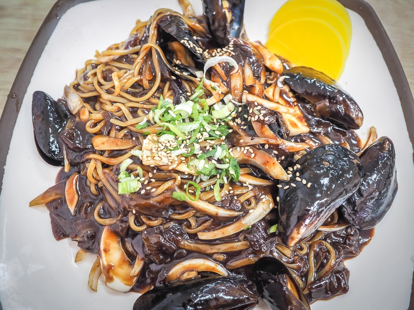 Jajangmyeon seafood noodles on the main street, one of the best places to eat in taejongdae