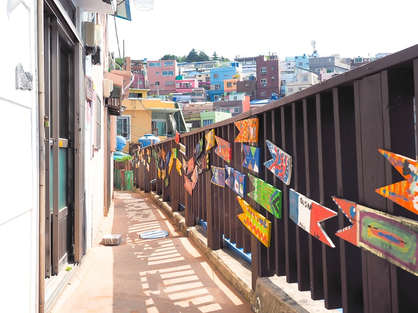 Artwork along paths at Gamcheon Culture Village