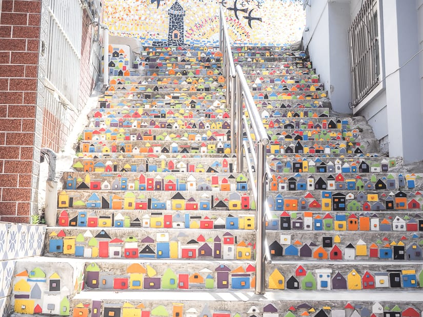 Staircase covered in art at Gamcheon Culture Village