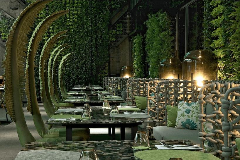 Jungle-like interior of ArTree Hotel Taipei