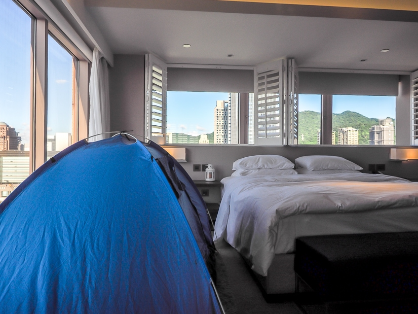 Tent in king size bed room for Adventure Family Package at grand Hyatt Taipei