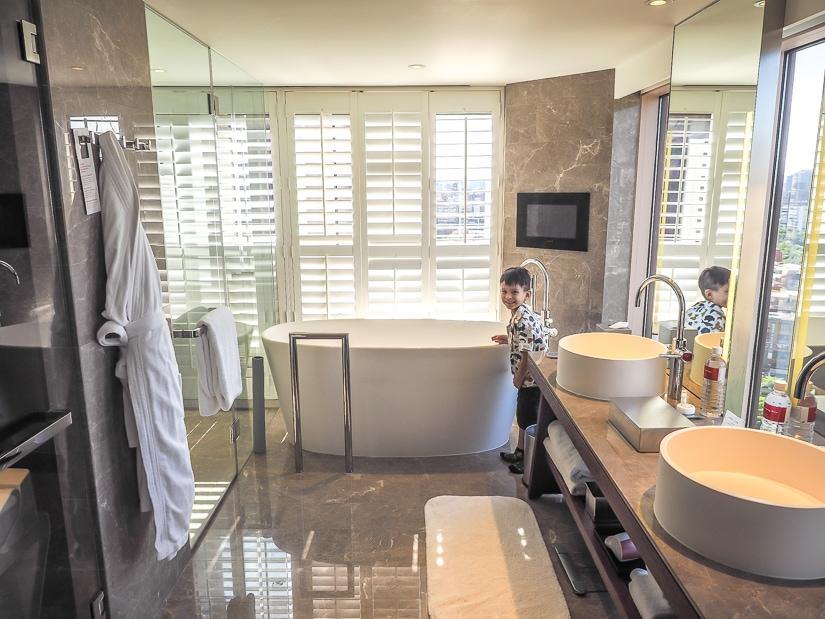 Bathroom in suite at Grand Hyatt Taipei