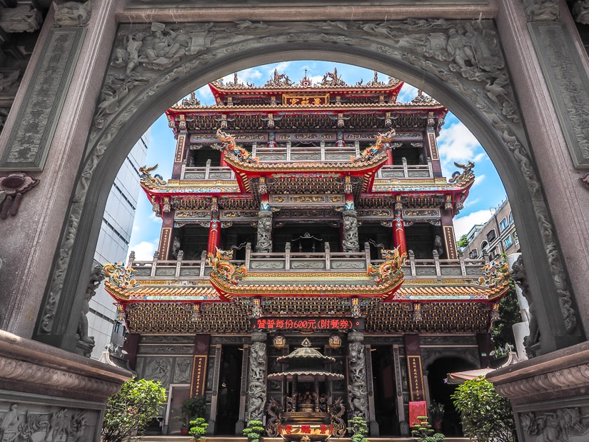 Front of Jingfu Temple, an off-the-beaten-track temple in Taipei