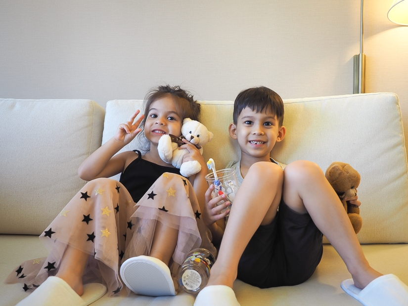Our kids with the free gifts they received during our stay at Grand Hyatt Taipei