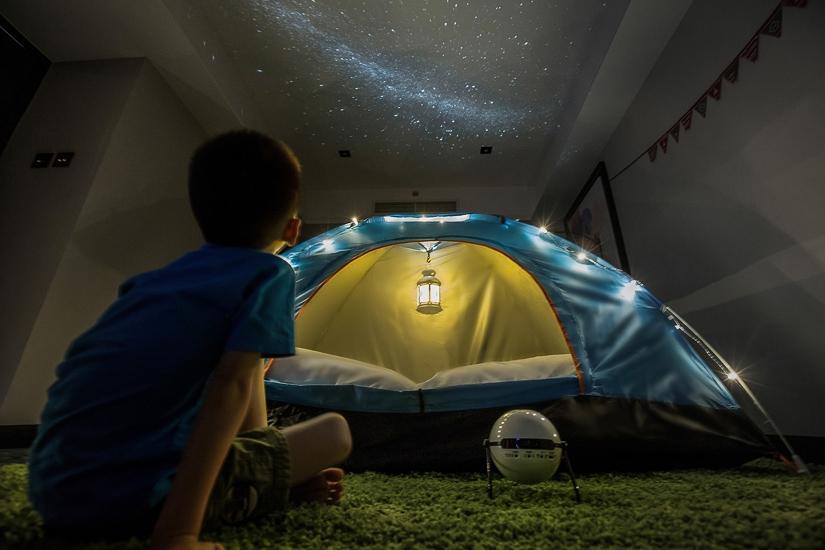 Stars on ceiling for kids' glamping experience, Grand Hyatt Taipei