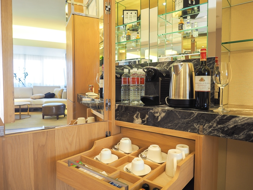 Mini bar in our suite at Grand Hyatt Taipei
