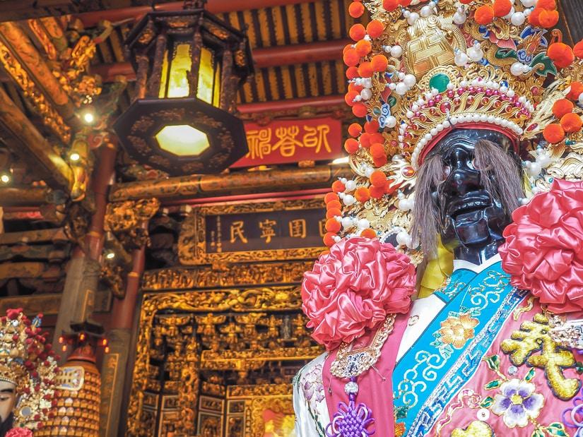 Inside Bangka Qingshan Temple in Taipei