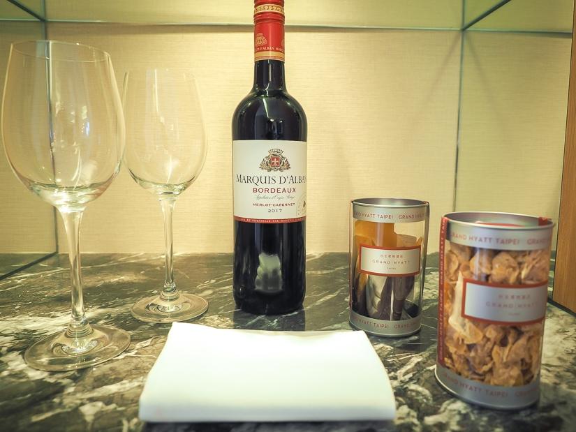 Wine in our room at Grand Hyatt Taipei