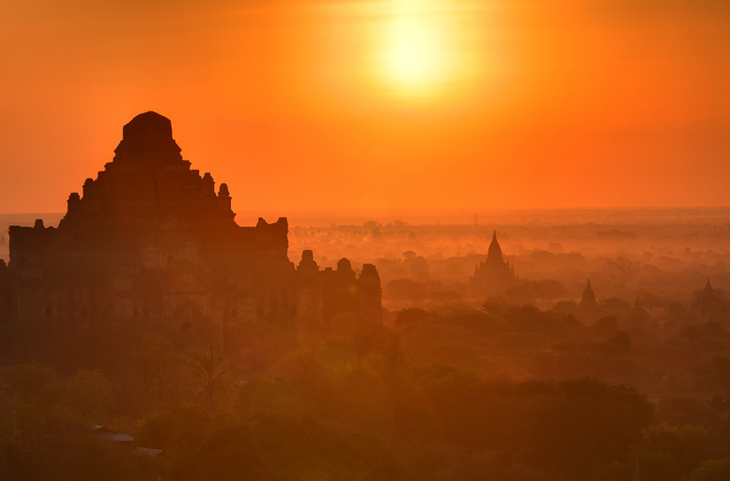 Sunset at Dhammayangyi pagoda in Bagan, Burma