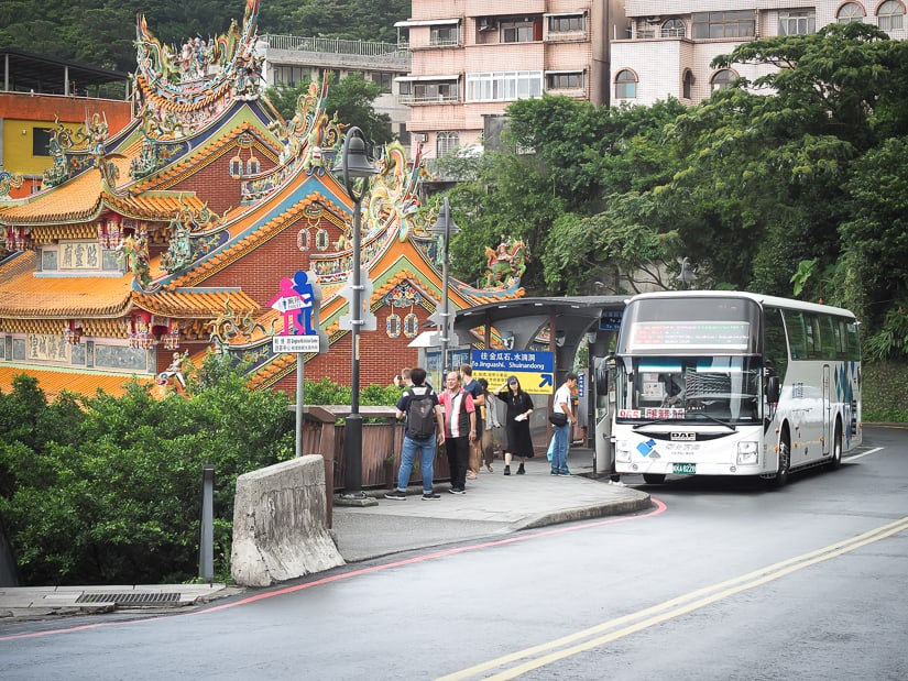 The main bus stop in Jiufen for Taipei and Ruifeng to Jiufen buses