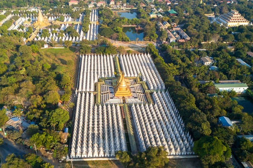 Aerial view of Kuthodaw, perhaps the most beautiful temple in Mandalay, Burma
