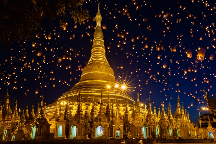 Shwedagon, one of the most famous temples in Myanmar (Burma)