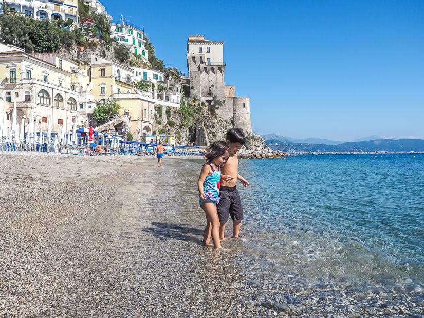 Out kids at the beach on the Amalfi Coast