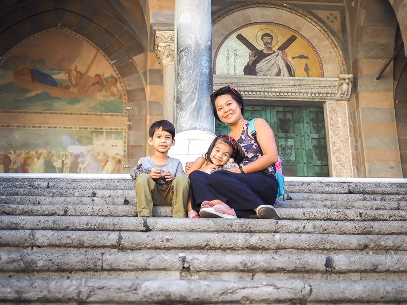 My wife and kids at Amalfi Cathedral