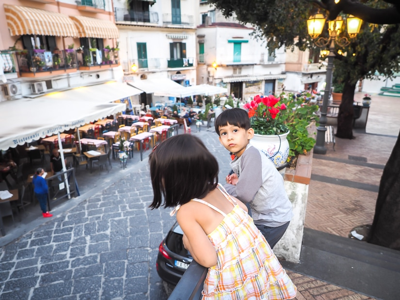 Our kids in Amalfi Coast