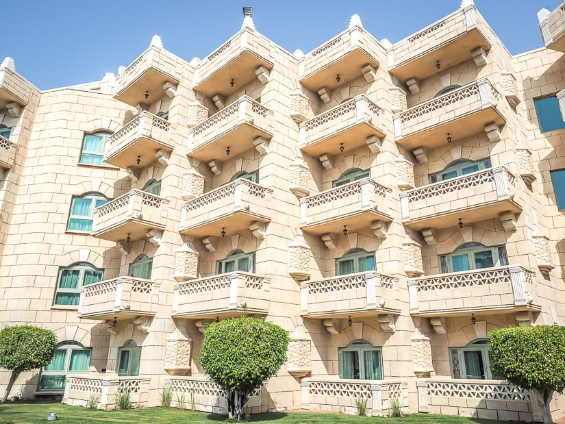 Balconies at Grand Hyatt Muscat viewed from the outside