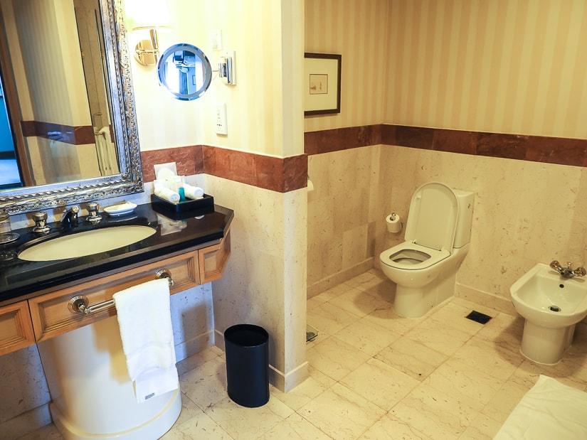 Bathroom in our hotel room at Grand Hyatt Muscat