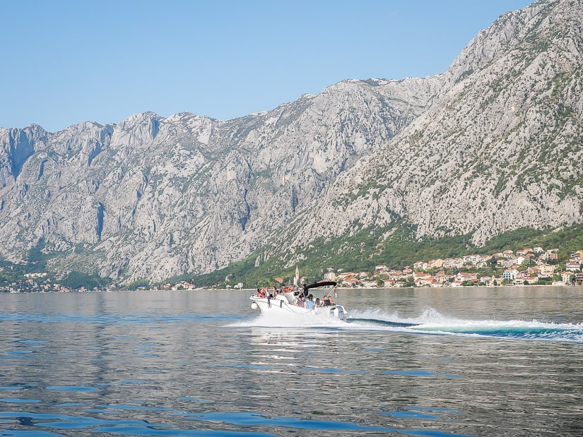 Motorboat cruise on the Bay of Kotor in Montenegro