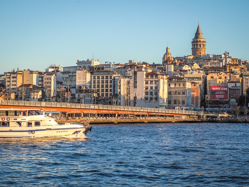 View of the Golden Horn, Galata Bride, Beyoglu, and Galata Tower in Istanbul