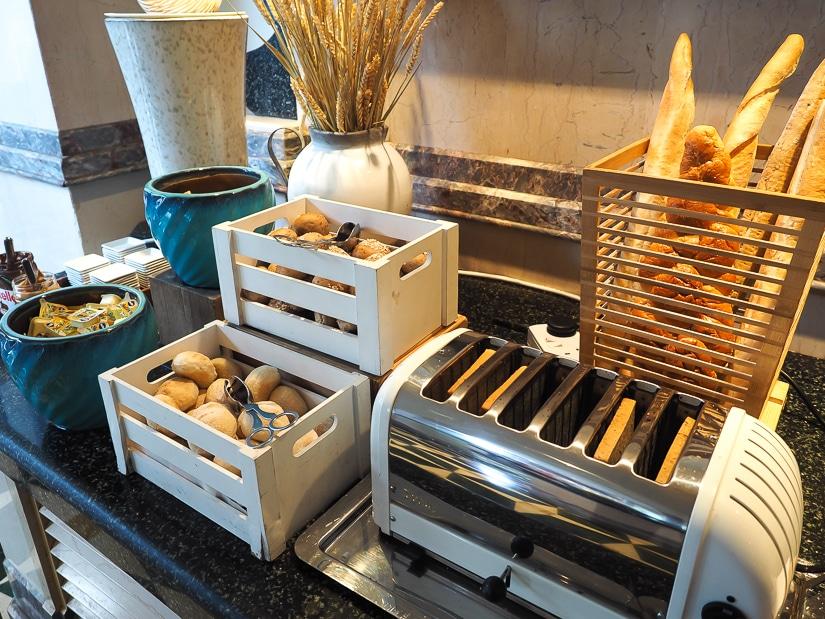 Bread selection at Mokha Cafe, Grand Hyatt Muscat