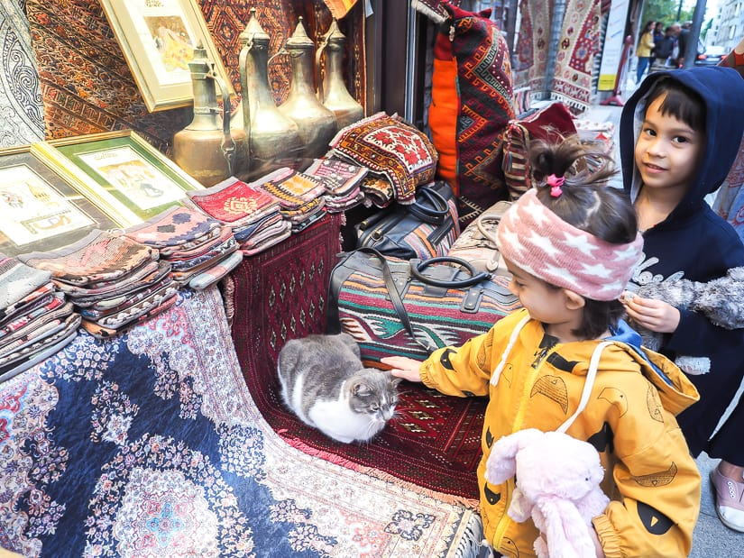 Our kids petting a cat in front of a tourist souvenir shop in Istanbul