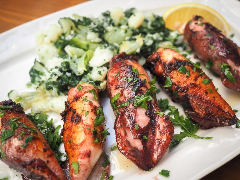 Stuffed squid at Cesarica, one of the best restaurants in Kotor Montenegro