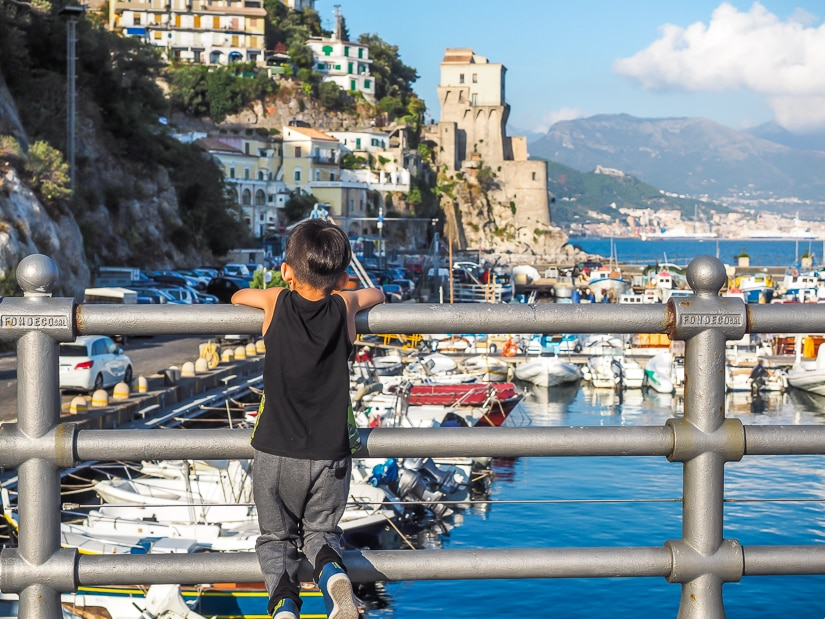 My son at the port of Cetara, which we feel is the best place to stay in Amalfi with kids
