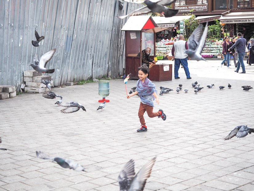 My child chasing pigeons in front of the Spice Bazaar in Istanbul