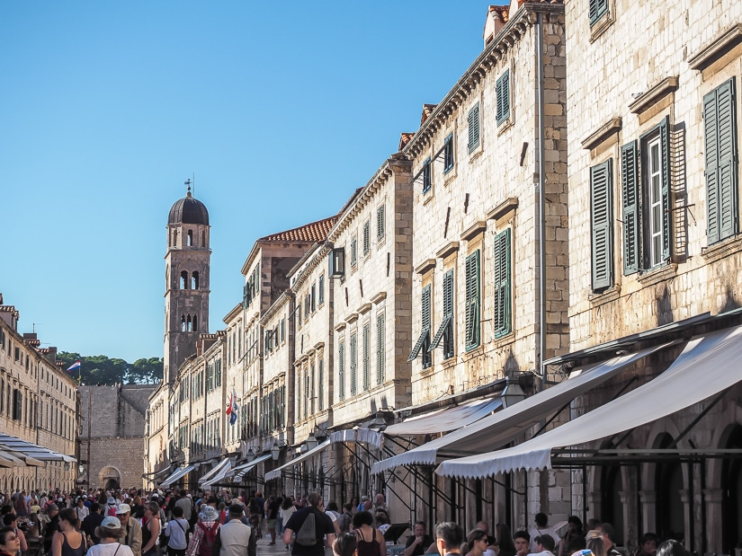 Crowds on the main street of Dubrovnik