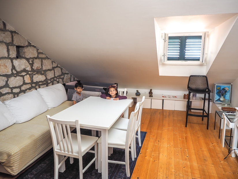 Living room of our kid-friendly apartment in Dubrovnik