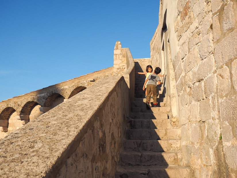 Our son and daughter on the walls of Dubrovnik