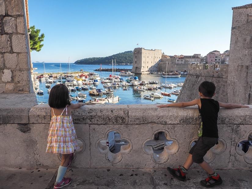 Our kids looking over Dubrovnik Port