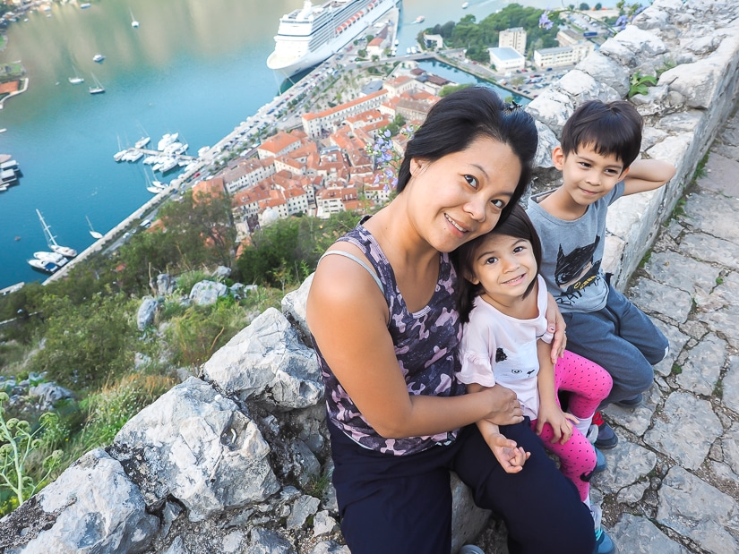 My wife and kids at a lookout point on the way up to Kotor Fortress