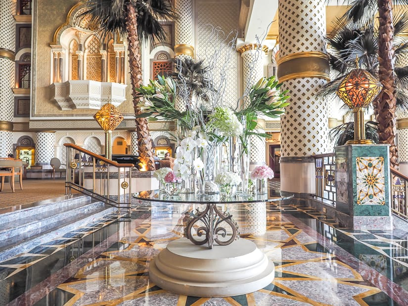 A flower display in the lobby of the Muscat Grand Hyatt