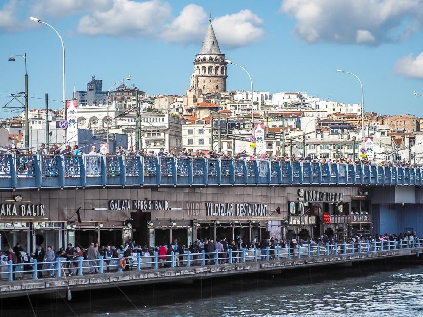 Galata bridge restaurants and fishermen