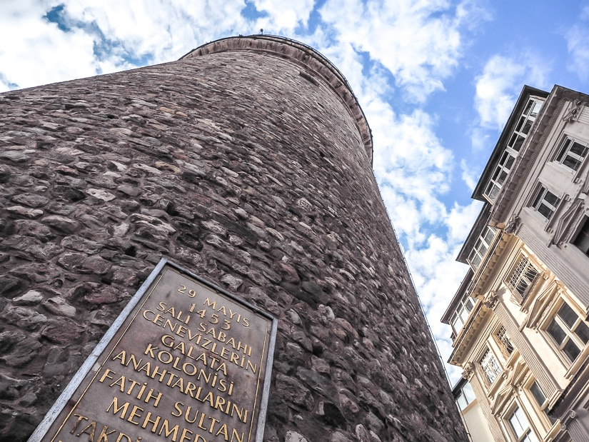 Galata Tower Istanbul viewed from the base