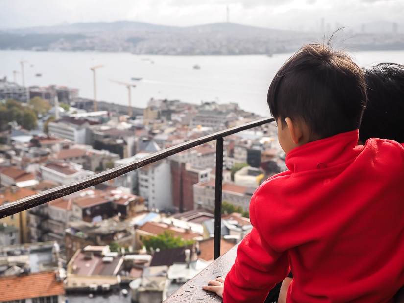The view from Galata Tower with kids