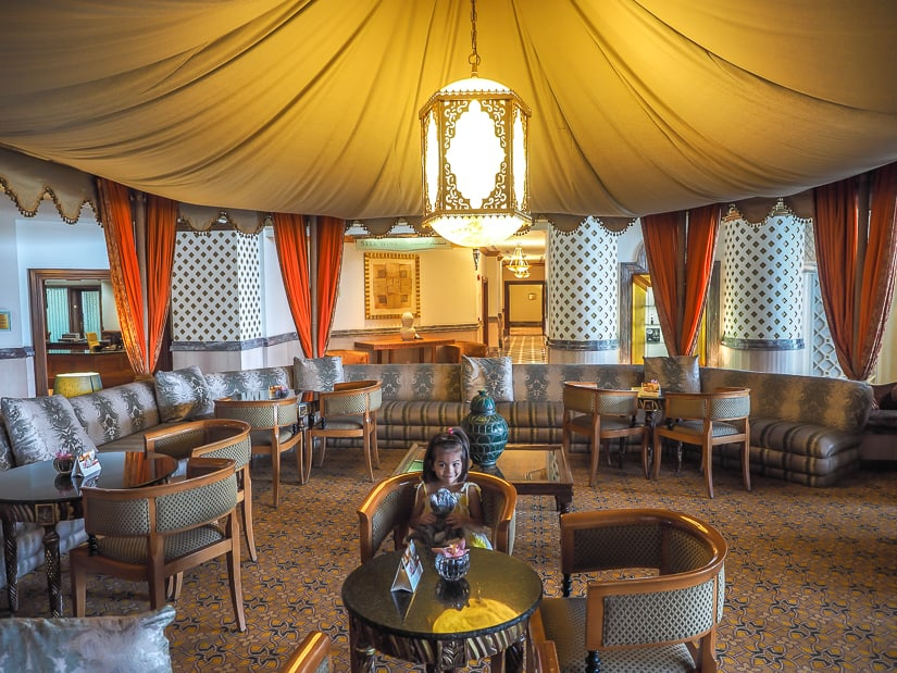 Sitting under Arabian tents in the lobby of the Grand Hyatt is one of the fun things to do with kids in Muscat Oman