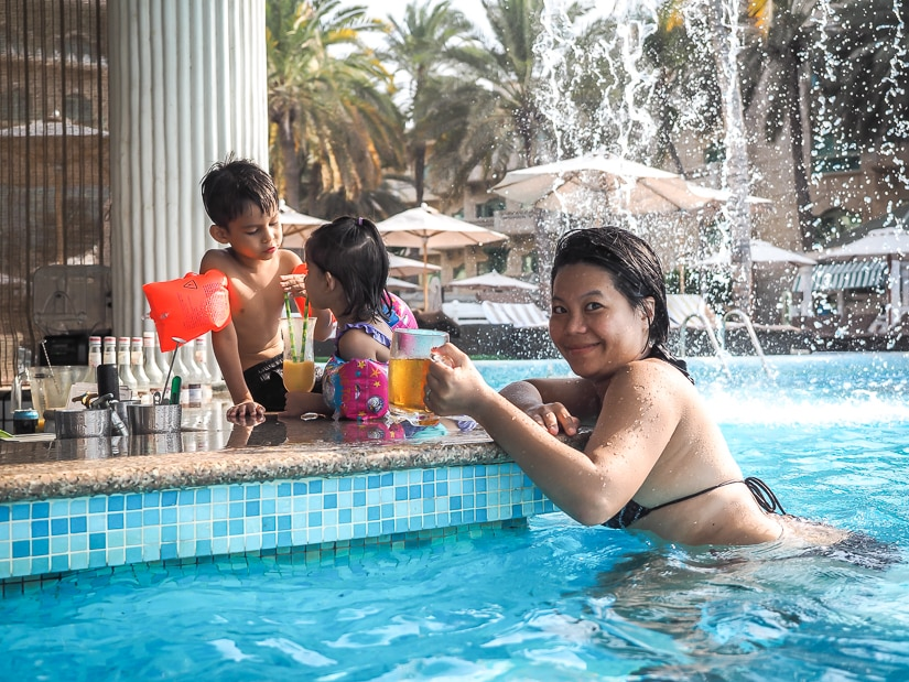 My wife and kids at the swim-up bar in the Grand Hyatt's pool