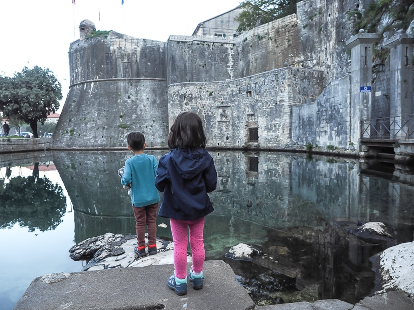 Our kids looking at Gurdic Bastion in Kotor