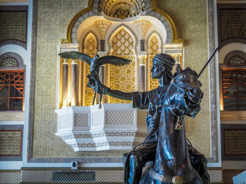 Spinning horseman statue in the lobby of the hotel