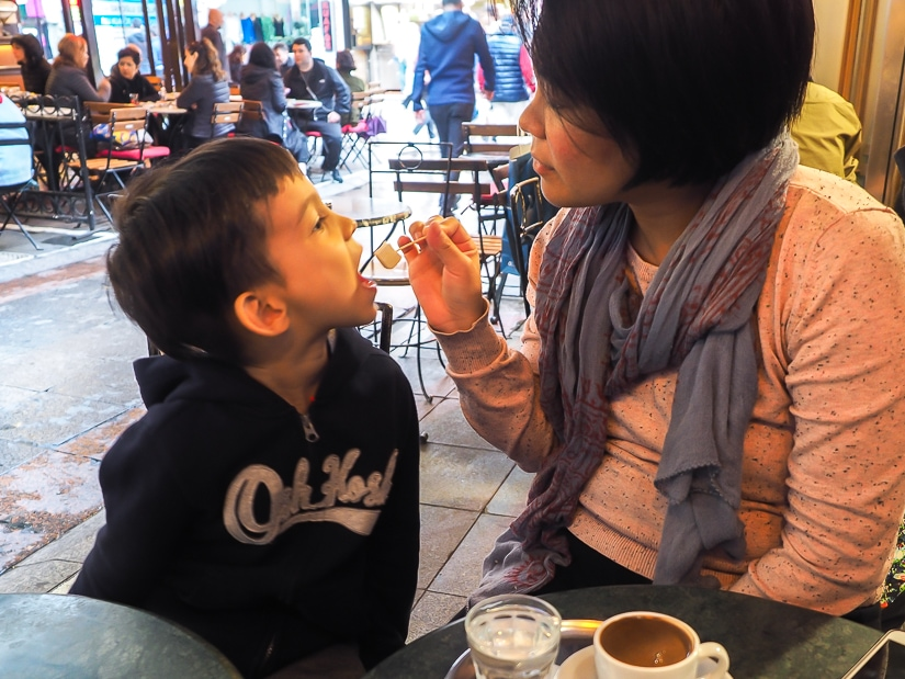 Visiting a Turkish cafe in Istanbul with kids