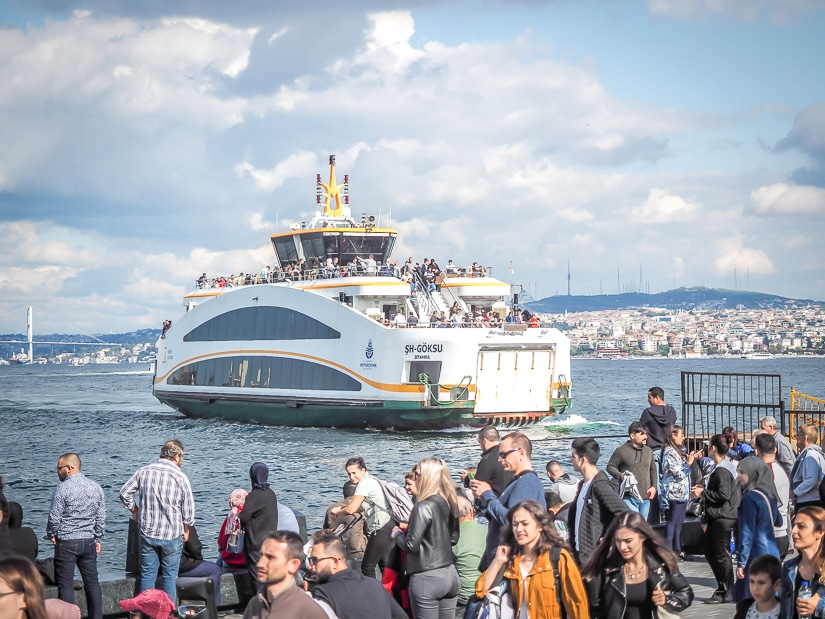 Ferry crossing the Bosporus Strait in Istanbul, one of the best ways to get around Istanbul with kids