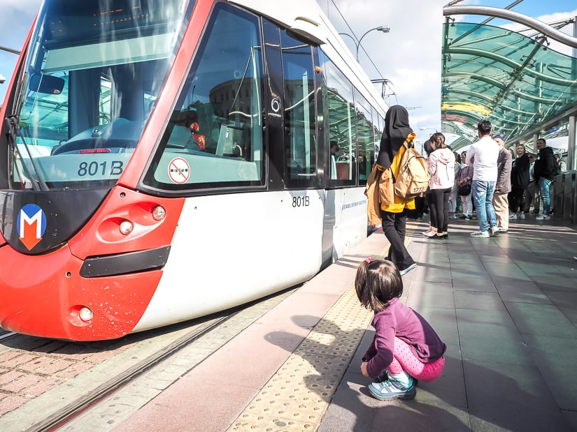 Taking the Istanbul tram with kids