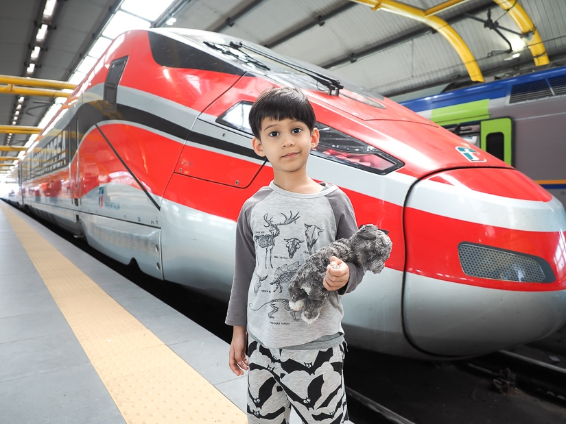Riding the high speed train with kids in Italy